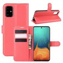 RMPACK Samsung Galaxy A71 Notesz Tok Business Series Kitámasztható Bankkártyatartóval Piros