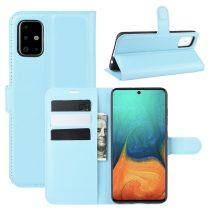 RMPACK Samsung Galaxy A71 Notesz Tok Business Series Kitámasztható Bankkártyatartóval Világoskék