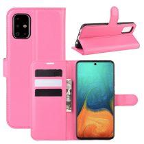 RMPACK Samsung Galaxy A71 Notesz Tok Business Series Kitámasztható Bankkártyatartóval Pink