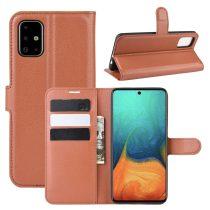 RMPACK Samsung Galaxy A71 Notesz Tok Business Series Kitámasztható Bankkártyatartóval Barna