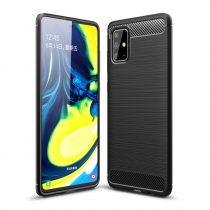 RMPACK Samsung Galaxy A71 Szilikon Tok Ütésállókivitel Karbon Mintázattal Fekete