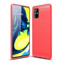 RMPACK Samsung Galaxy A71 Szilikon Tok Ütésállókivitel Karbon Mintázattal Piros