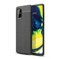 RMPACK Samsung Galaxy A71 Szilikon Tok Bőrmintázattal TPU Prémium Fekete