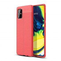 RMPACK Samsung Galaxy A71 Szilikon Tok Bőrmintázattal TPU Prémium Piros