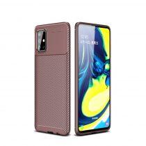 RMPACK Samsung Galaxy A71 Tok Szilikon TPU Carbon Fiber - Karbon Minta Barna