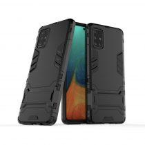 RMPACK Samsung Galaxy A71 2in1 Tok Ütésálló - Kitámasztható TPU Hybrid Fekete