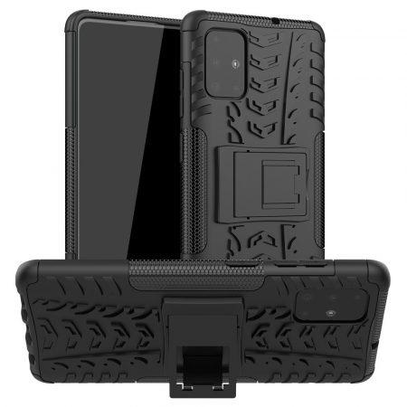 RMPACK Samsung Galaxy A71 Ütésálló Tok Kitámasztható 2in1 Hybrid Fekete