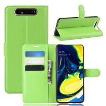 RMPACK Samsung Galaxy A80 Notesz Tok Business Series Kitámasztható Bankkártyatartóval Zöld