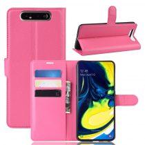 RMPACK Samsung Galaxy A80 Notesz Tok Business Series Kitámasztható Bankkártyatartóval Pink