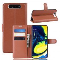 RMPACK Samsung Galaxy A80 Notesz Tok Business Series Kitámasztható Bankkártyatartóval Barna