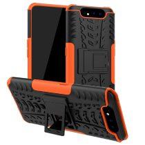RMPACK Samsung Galaxy A80 Ütésálló Tok Kitámasztható 2in1 Hybrid Narancssárga