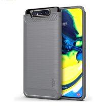 RMPACK Samsung Galaxy A80 Szilikon Tok MOFI Ütésállókivitel Karbon Mintázattal Fekete