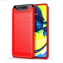 RMPACK Samsung Galaxy A80 Szilikon Tok MOFI Ütésállókivitel Karbon Mintázattal Piros