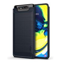 RMPACK Samsung Galaxy A80 Szilikon Tok MOFI Ütésállókivitel Karbon Mintázattal Sötétkék