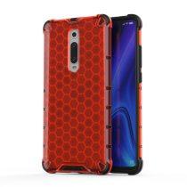 RMPACK Xiaomi Mi 9T Mi 9T Pro Shock-Proof Szilikon Tok Ütésálló Kivitel Honeycomb Style Piros