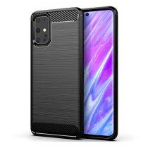 Samsung Galaxy S20 Ultra Szilikon Tok Ütésállókivitel Karbon Mintázattal Fekete