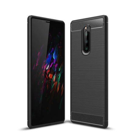 RMPACK Sony Xperia 1 Szilikon Tok Ütésállókivitel Karbon Mintázattal Fekete