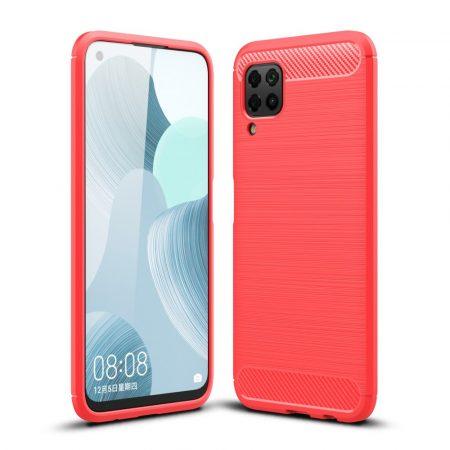 RMPACK Huawei P40 Lite Szilikon Tok Ütésállókivitel Karbon Mintázattal Piros