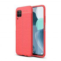 RMPACK Huawei P40 Lite Szilikon Tok Bőrmintázattal TPU Prémium Piros