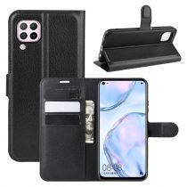 RMPACK Huawei P40 Lite Notesz Tok Business Series Kitámasztható Bankkártyatartóval Fekete