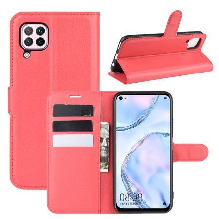 RMPACK Huawei P40 Lite Notesz Tok Business Series Kitámasztható Bankkártyatartóval Piros
