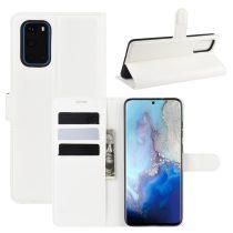 RMPACK Samsung Galaxy S20 Notesz Tok Business Series Kitámasztható Bankkártyatartóval Fehér