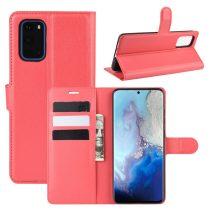 RMPACK Samsung Galaxy S20 Notesz Tok Business Series Kitámasztható Bankkártyatartóval Piros