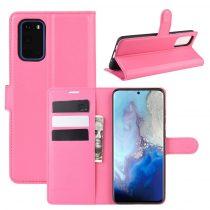 RMPACK Samsung Galaxy S20 Notesz Tok Business Series Kitámasztható Bankkártyatartóval Pink