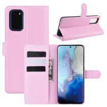 RMPACK Samsung Galaxy S20 Notesz Tok Business Series Kitámasztható Bankkártyatartóval Rózsaszín