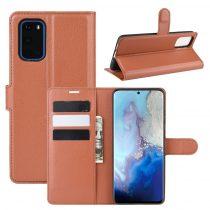 RMPACK Samsung Galaxy S20 Notesz Tok Business Series Kitámasztható Bankkártyatartóval Barna