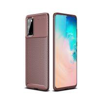 RMPACK Samsung Galaxy S20 Tok Szilikon TPU Ütésálló New Carbon Barna