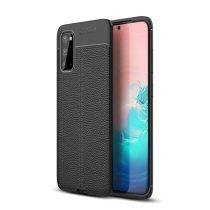 RMPACK Samsung Galaxy S20 Szilikon Tok Bőrmintázattal TPU Prémium Fekete