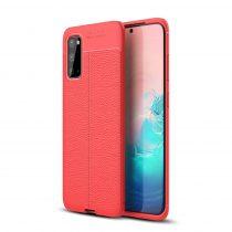 RMPACK Samsung Galaxy S20 Szilikon Tok Bőrmintázattal TPU Prémium Piros