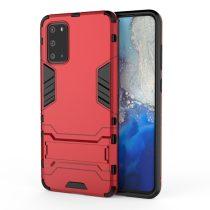 RMPACK Samsung Galaxy S20 Védőtok 2in1 Tok Ütésálló - Kitámasztható TPU Hybrid Piros