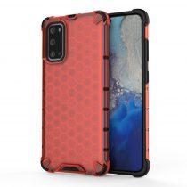 RMPACK Samsung Galaxy S20 Shock-Proof Szilikon Tok Ütésálló Kivitel Honeycomb Style Piros