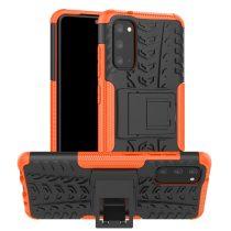 RMPACK Samsung Galaxy S20 Ütésálló Tok Kitámasztható 2in1 Hybrid Narancssárga