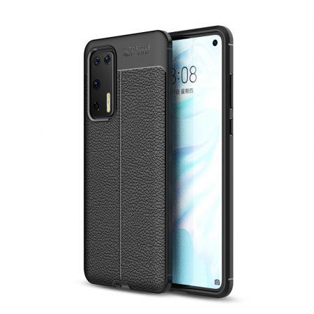RMPACK Huawei P40 Szilikon Tok Bőrmintázattal TPU Prémium Fekete