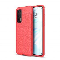 RMPACK Huawei P40 Szilikon Tok Bőrmintázattal TPU Prémium Piros