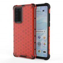 RMPACK Huawei P40 Shock-Proof Szilikon Tok Ütésálló Kivitel Honeycomb Style Piros