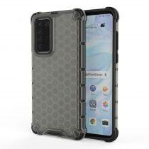RMPACK Huawei P40 Shock-Proof Szilikon Tok Ütésálló Kivitel Honeycomb Style Fekete