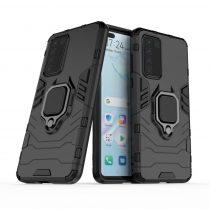 RMPACK Huawei P40 Védőtok Ring Guard Gyűrűs 2in1 Tok Ütésálló - Kitámasztható TPU Hybrid Fekete