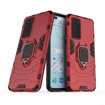 RMPACK Huawei P40 Védőtok Ring Guard Gyűrűs 2in1 Tok Ütésálló - Kitámasztható TPU Hybrid Piros