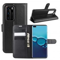 RMPACK Huawei P40 Notesz Tok Business Series Kitámasztható Bankkártyatartóval Fekete