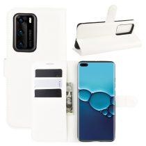 RMPACK Huawei P40 Notesz Tok Business Series Kitámasztható Bankkártyatartóval Fehér