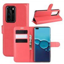 RMPACK Huawei P40 Notesz Tok Business Series Kitámasztható Bankkártyatartóval Piros