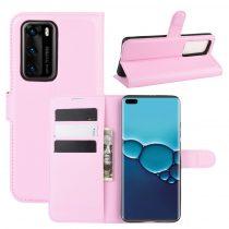 RMPACK Huawei P40 Notesz Tok Business Series Kitámasztható Bankkártyatartóval Rózsaszín