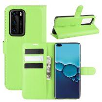 RMPACK Huawei P40 Notesz Tok Business Series Kitámasztható Bankkártyatartóval Zöld