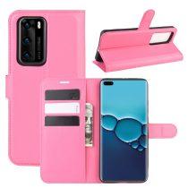 RMPACK Huawei P40 Notesz Tok Business Series Kitámasztható Bankkártyatartóval Pink
