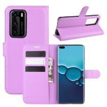 RMPACK Huawei P40 Notesz Tok Business Series Kitámasztható Bankkártyatartóval Lila