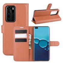 RMPACK Huawei P40 Notesz Tok Business Series Kitámasztható Bankkártyatartóval Barna
